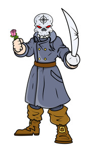 Captain Pirate With Sword And Rose - Vector Cartoon Illustration
