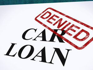 Car Loan Denied Stamp Shows Auto Finance Denied