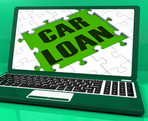 Car Loan On Laptop Shows Automobile Sales Website