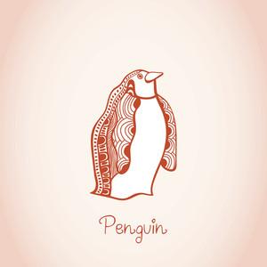 Card Illustration Of Penguin