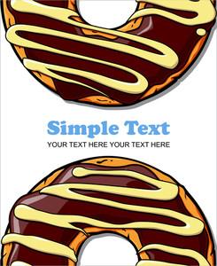Card With Cartoon Donut Illustration.