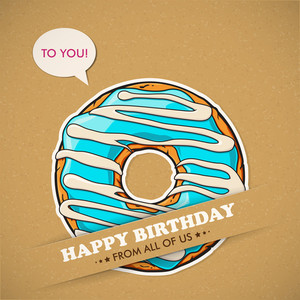Card With Cool Cartoon Donut. Vector Collection.