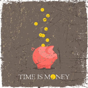 Card With Piggy Bank And Coins. Grunge Vector Illustration.