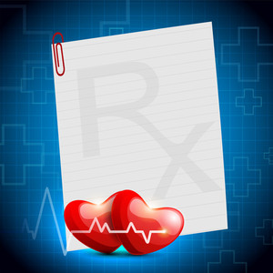 Cardiogram With Red Heart Shape On Blue Background.