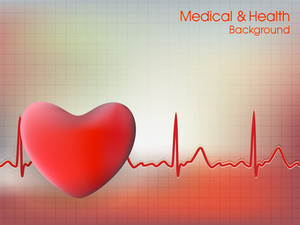 Cardiogram With Red Heart Shape On Blue Background
