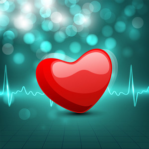 Cardiogram With Red Heart Shape On Green Background.