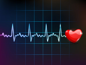 Cardiogram With Red Heart Shape