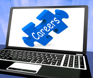 Careers Puzzle On Laptop Shows Online Employments