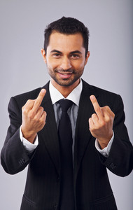 Carefree Man Showing Middle Finger to His Boss