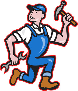 Carpenter Builder Hammer Running Cartoon