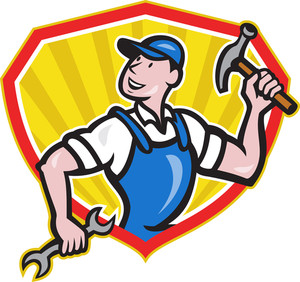 Carpenter Builder Hammer Spanner Cartoon