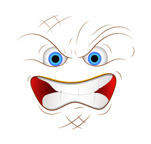 Cartoon Angry Face Expression Vector Illustration