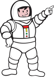Cartoon Astronaut Standing Pointing