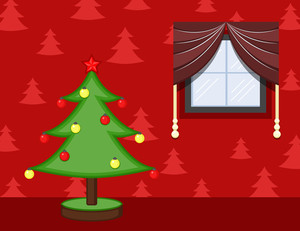Cartoon Background - Christmas Celebration Room - Decorative Tree