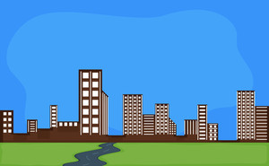 Cartoon Background - City And Buildings