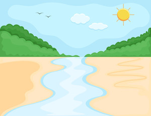 Cartoon Background - River Bank Landscape