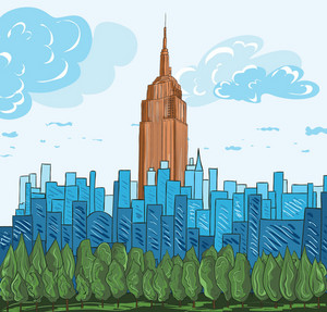 Cartoon Background With City Vector Illustration