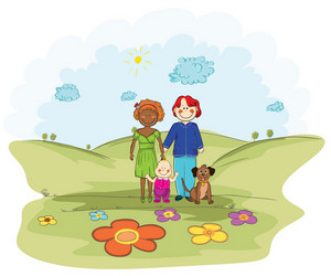 Cartoon Background With Family Vector Illustration