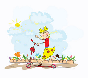 Cartoon Background With Little Girl Vector Illustration