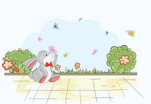 Cartoon Background With Rabbit Vector Illustration