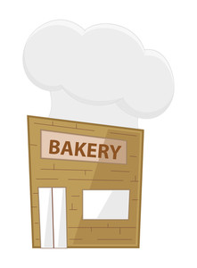 Cartoon Bakery House With Chef Cap Vector