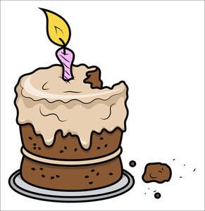 Cartoon Bithday Cake - Vector Cartoon Illustration