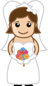 Cartoon Bride Holding Flowers