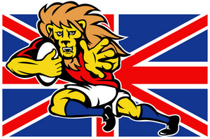 Cartoon British Lion Rugby Fending Off Gb Flag