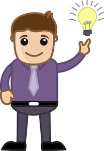 Cartoon Business Character - Got An Idea - Bulb Lit Up