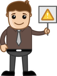 Cartoon Business Character - Man Standing With Alert Sign