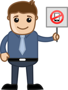 Cartoon Business Character - No Mobile Phone  Allowed