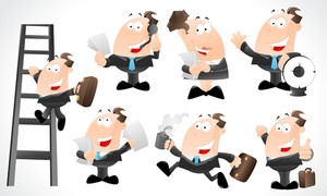 Cartoon Businessmen Characters Vectors