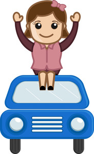 Cartoon Character - Girl Sitting On Car - Travel Concept