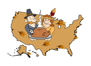 Cartoon Characters Celebrating Thanksgiving Day