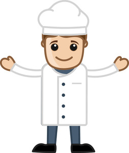 Cartoon Chef Man Raising Hands