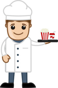 Cartoon Chef Serving Food - Vector