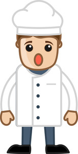 Cartoon Chef Wondering