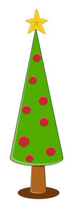 Cartoon Christmas Tree - Christmas Vector Illustration