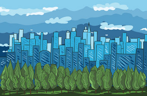 Cartoon City Background Vector Illustration