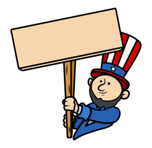 Cartoon Clip-art Lincoln Holding A Blank Board