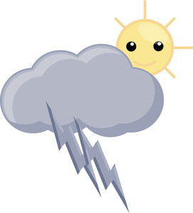 Cartoon Cloud Thunder And Sun - Wheather Vector