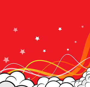 Cartoon Clouds Wave Stars Background