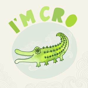 Cartoon Crocodile Illustration In Watercolors