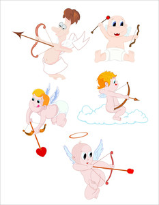 Cartoon Cupids Valentines Vector