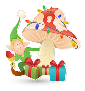 Cartoon Cute Elf - Christmas Vector Illustration