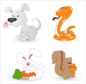 Cartoon Dog Rabbit Snake And Squirrel Vectors