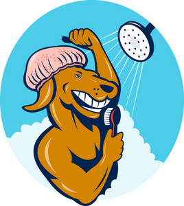 Cartoon Dog Singing Shower Scrubbing Brush