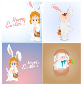 Cartoon Easter Kid Bunny