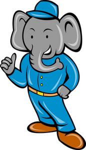 Cartoon Elephant Busboy Or Bellboy Posing
