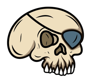 Cartoon Eye Patched Skull - Vector Cartoon Illustration